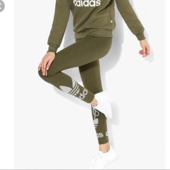 5e6c0000a7b63 adidas Pants | High Waisted Olive Trefoil Logo Legging Xs | Poshmark
